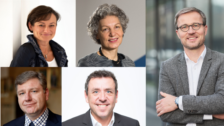 Prof. Silke Wieprecht, Dr. Simone Rehm, Prof. Peter Middendorf, Prof. Frank Gießelmann, Prof. Manfred Bischoff (pictures clockwise)
